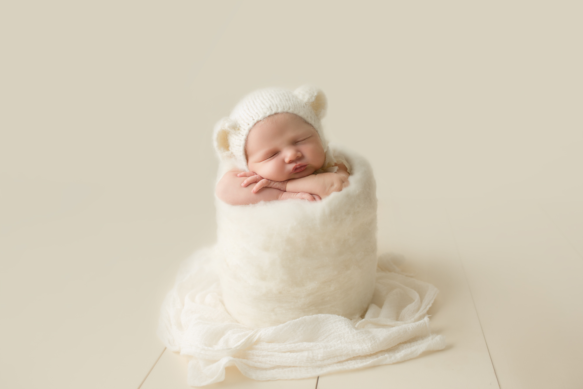 newborn baby cream bear hat