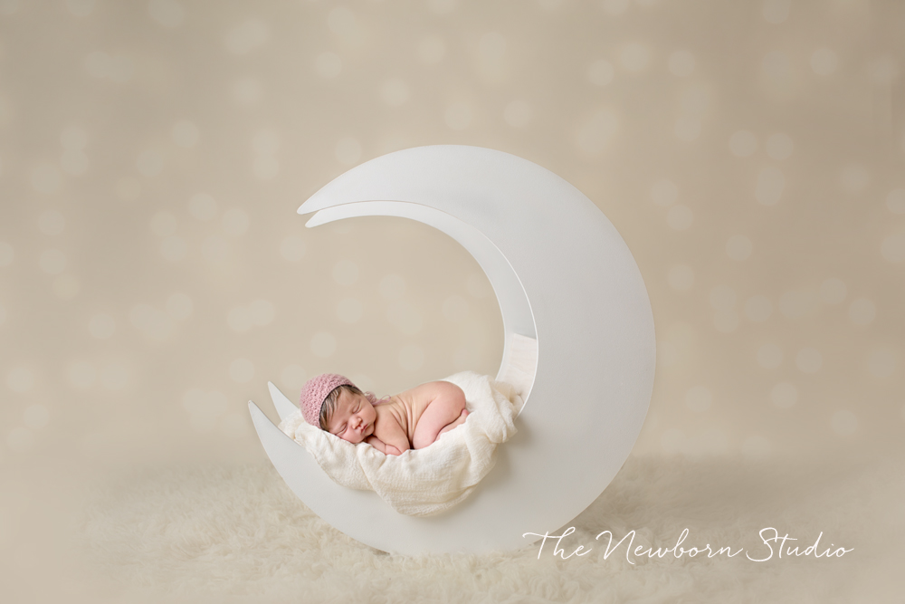 newborn baby girl moon studio