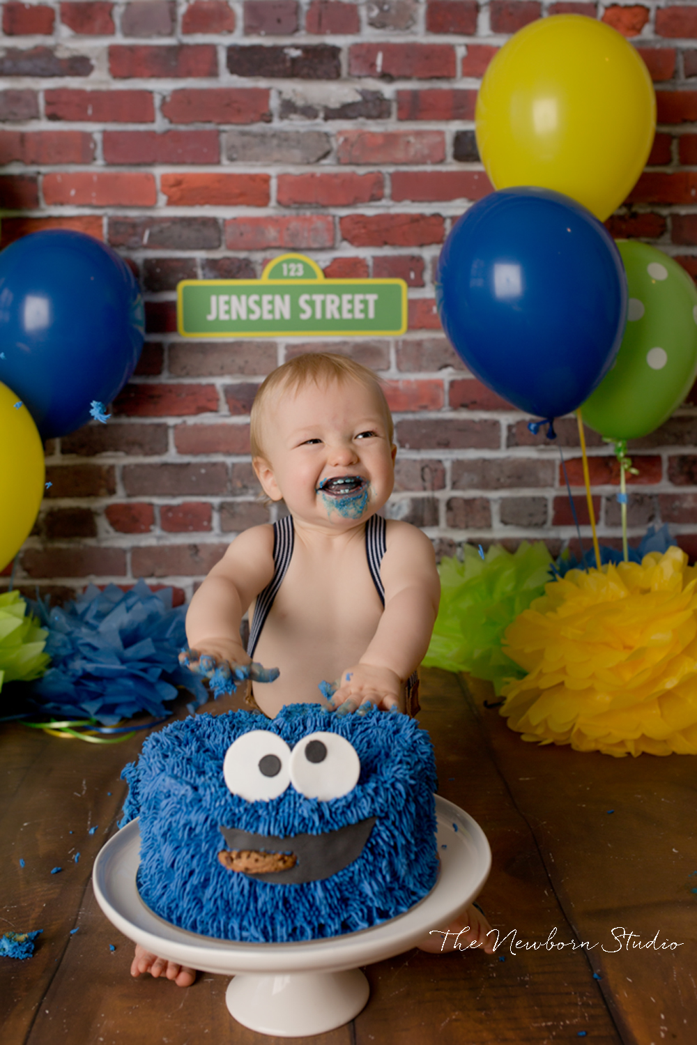 child colourful cake smash sesame street