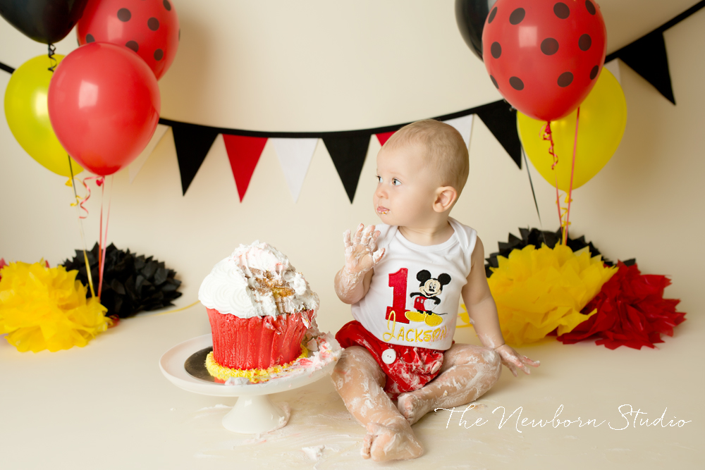 mickey mouse cake smash red yellow black