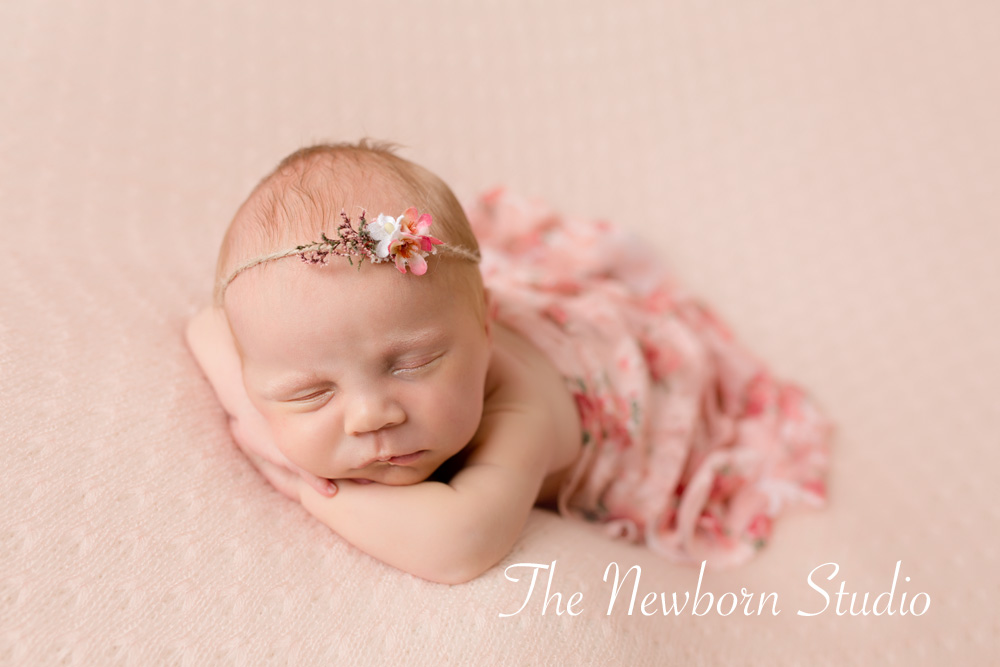 newborn baby girl pink headband studio